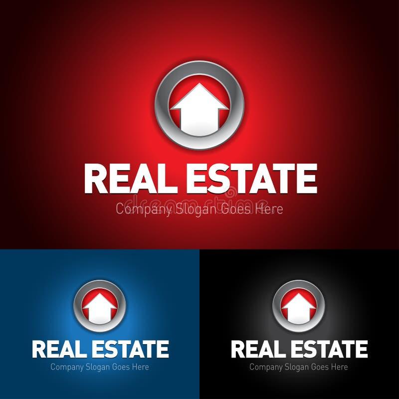 Calibre argenté de logo d'immobiliers, logo à la maison, logo de maison, logo de propriété, illustration de logotype illustration libre de droits