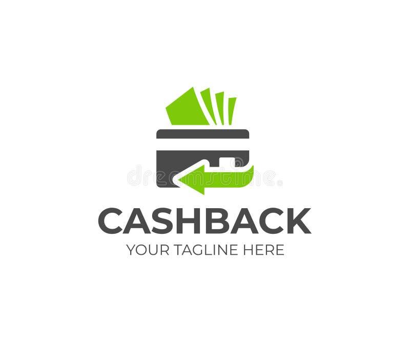 Calibre arrière de logo de service d'argent liquide Conception de vecteur de carte de crédit et d'argent illustration stock