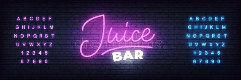 Calibre au néon de bar à jus Signe rougeoyant de lettrage de jus illustration de vecteur
