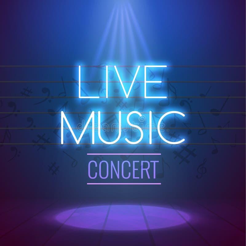Calibre au néon de fond d'affiche de Live Music Concert Acoustic Party avec le projecteur et l'étape illustration stock