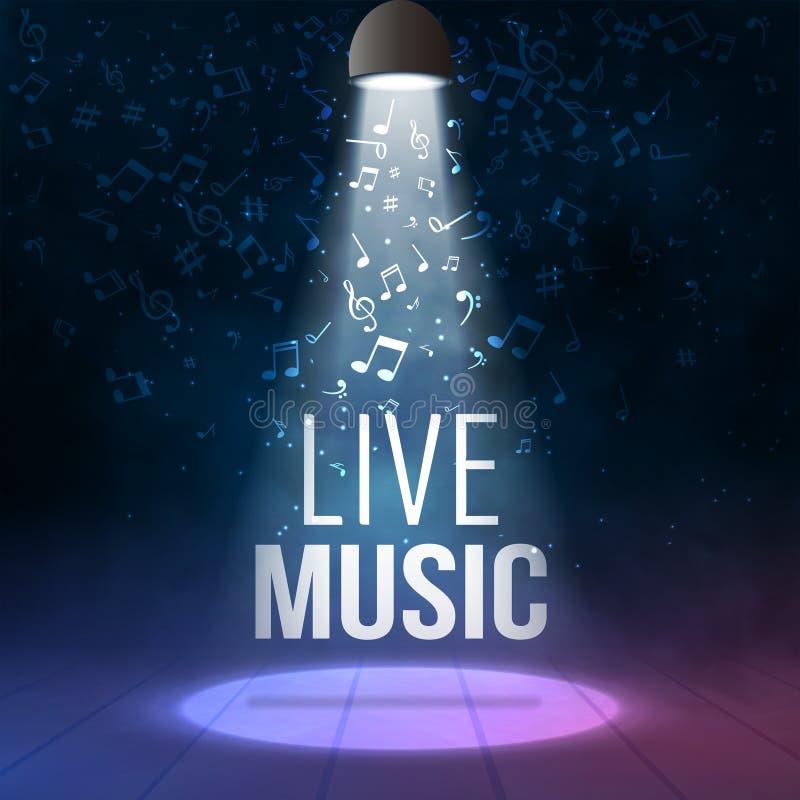 Calibre au néon de fond d'affiche de Live Music Concert Acoustic Party avec le projecteur et l'étape illustration de vecteur