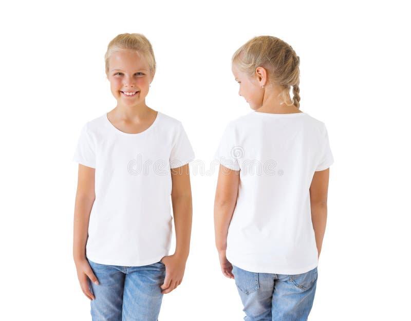 Calibre, avant et dos blancs de maquette du T-shirt de la fille photos libres de droits