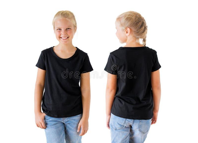 Calibre, avant et dos noirs de maquette du T-shirt de la fille image libre de droits