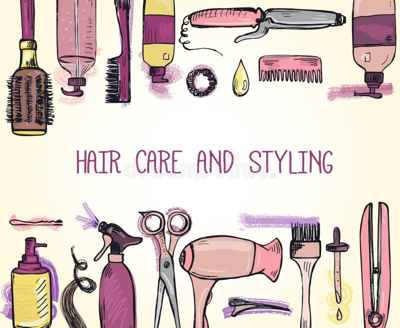 Calibre avec les produits tirés par la main de dénommer et de soin de cheveux illustration de vecteur