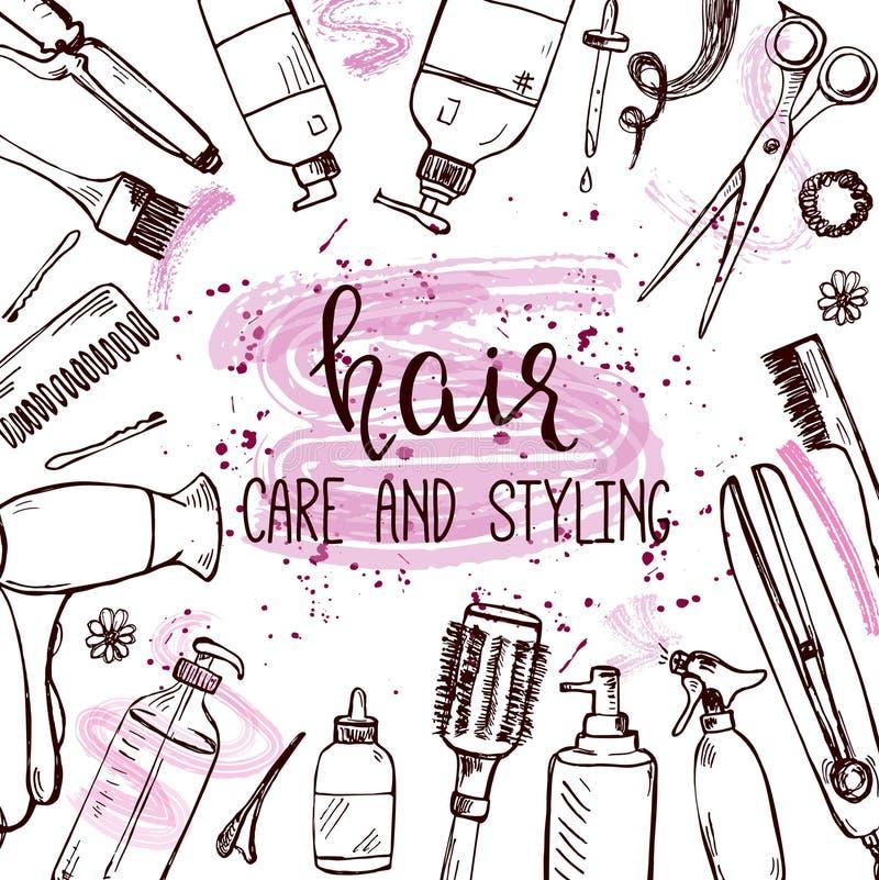 Calibre avec les produits tirés par la main de dénommer et de soin de cheveux illustration stock