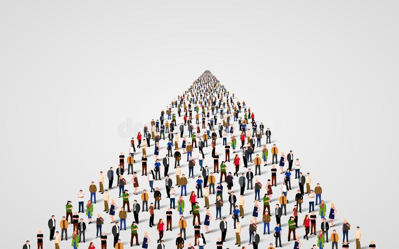 Calibre avec une foule des gens d'affaires se tenant dans une ligne Foule de personnes illustration de vecteur