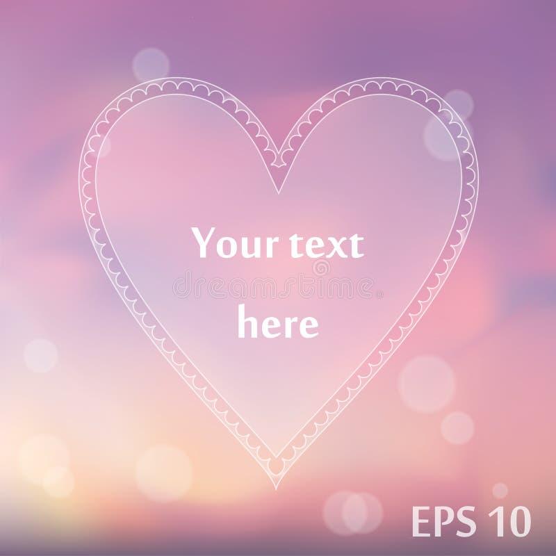 Calibre blanc d'infographics de forme de coeur Fond violet et rose brouillé photographie stock libre de droits