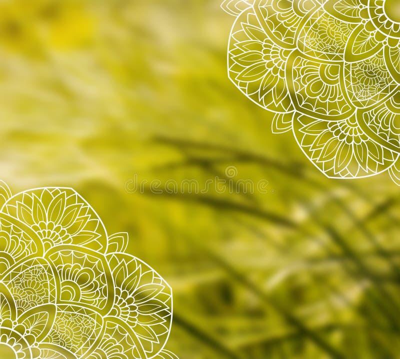 Calibre blanc de mandala de dentelle sur la photo brouillée de blé photos stock