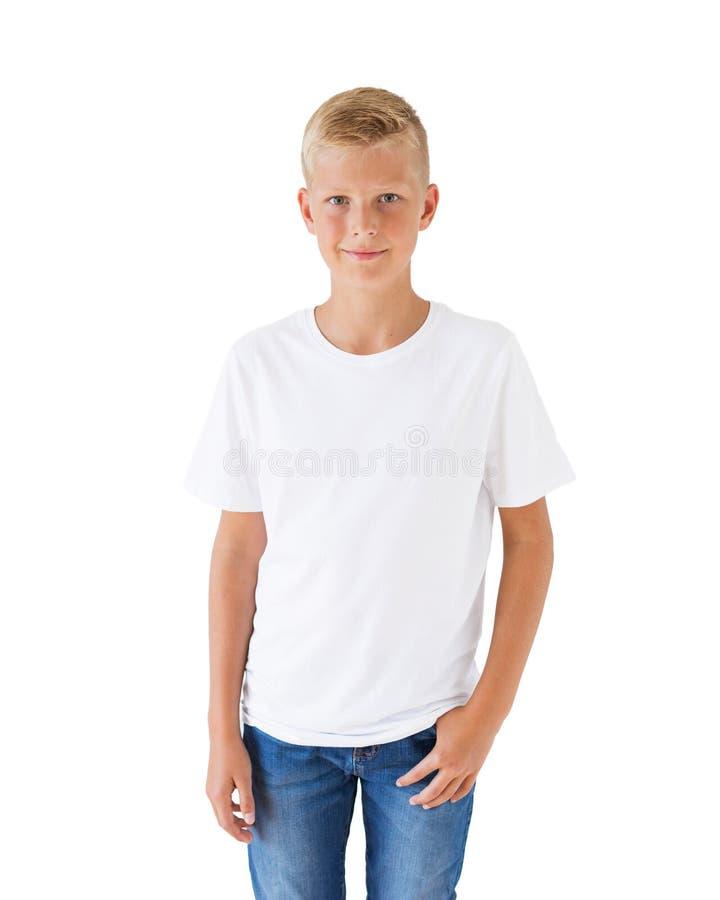Calibre blanc de maquette du T-shirt du garçon photo stock