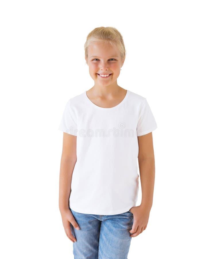 Calibre blanc de maquette du T-shirt de la fille photo stock