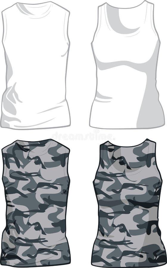 Calibre blanc et militaire de chemises Vecteur illustration libre de droits