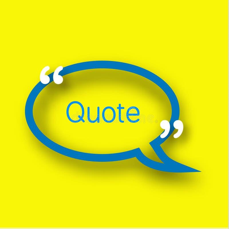 Calibre bleu de bulle de la parole dans le style réaliste sur le fond jaune lumineux Vue de papier avec des virgules pour votre t illustration libre de droits