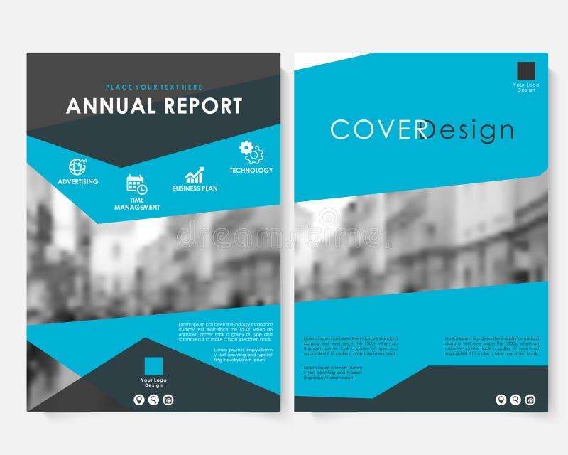 Calibre bleu de conception de couverture de vente pour le vecteur de rapport annuel  Livret minimaliste moderne de concept d'affa illustration stock