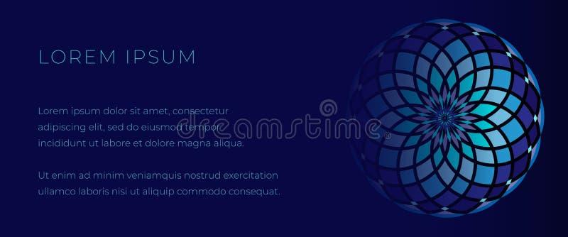 Calibre bleu profond pour la bannière de Web avec le mandala de mosaïque illustration de vecteur