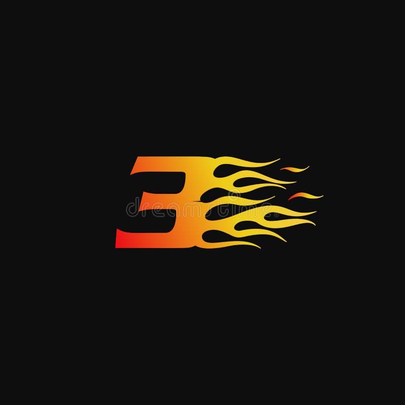 Calibre brûlant de conception de logo de flamme du numéro 3 illustration libre de droits