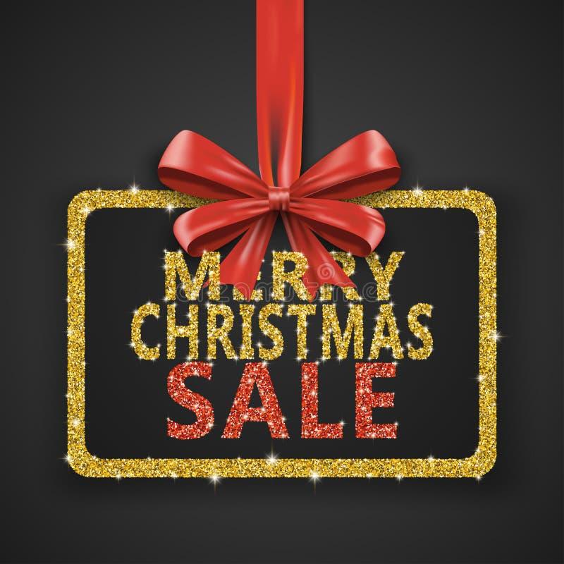 Calibre brillant de conception de vente de Joyeux Noël L'affiche de décoration de Noël avec le scintillement d'or et le ruban rou illustration de vecteur