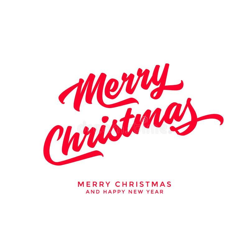 Calibre calligraphique de carte de conception de lettrage des textes de Joyeux Noël illustration de vecteur