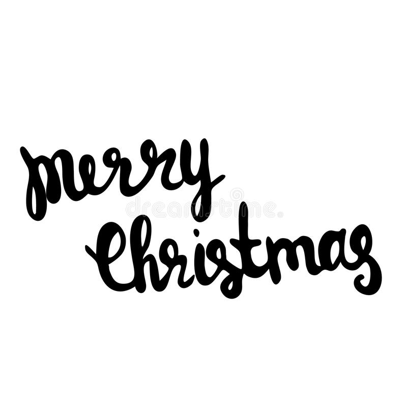 Calibre calligraphique de carte de conception de lettrage des textes de vecteur de Joyeux Noël illustration de vecteur