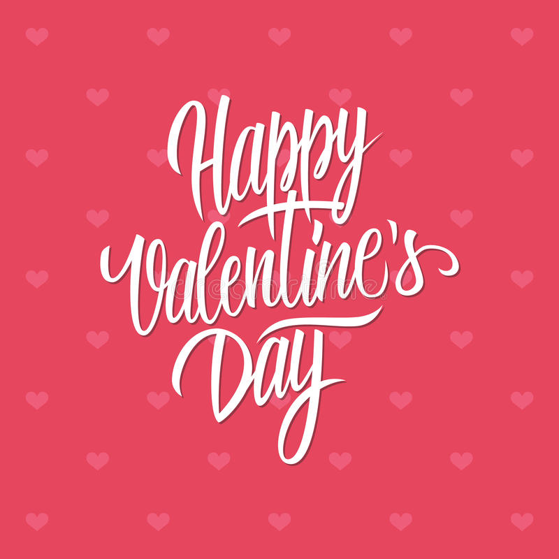 Calibre calligraphique de carte de conception de lettrage de Valentine de jour heureux du ` s illustration stock