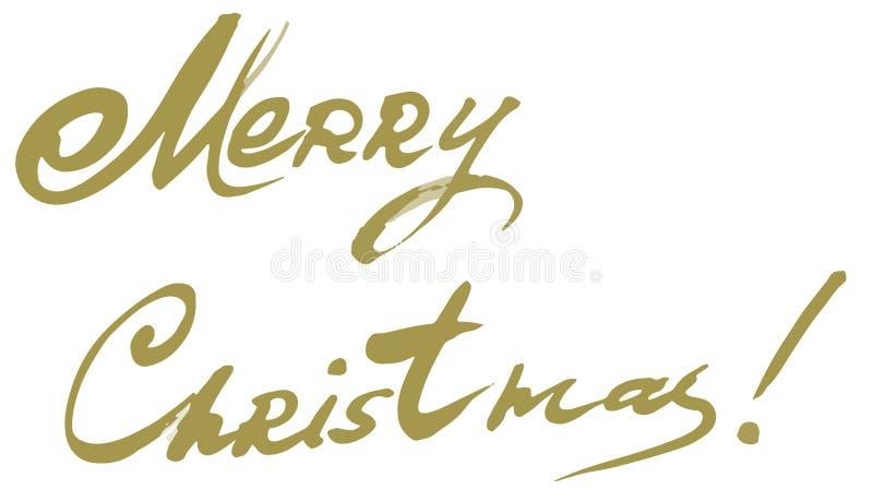 Calibre calligraphique de carte de conception de lettrage des textes de vecteur de Joyeux Noël images libres de droits
