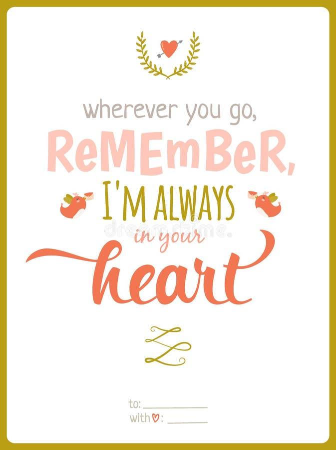 Calibre calligraphique de carte de jour de valentines illustration libre de droits