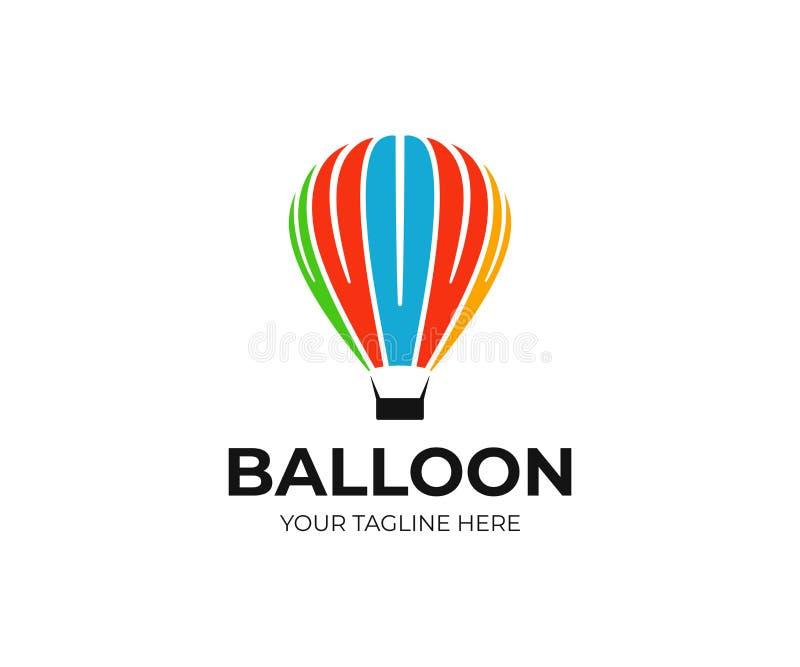 Calibre chaud de logo de ballon à air Conception montante en ballon de vecteur illustration stock