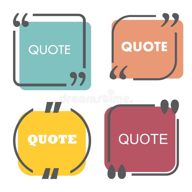 Calibre coloré de citation Les citations boîte forment et des paroles d'isolement sur le fond blanc Illustration de vecteur illustration libre de droits