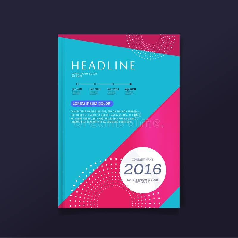 Calibre coloré de disposition de conception de couverture d'insecte de brochure d'affaires dans la taille A4, avec le fond premie illustration libre de droits