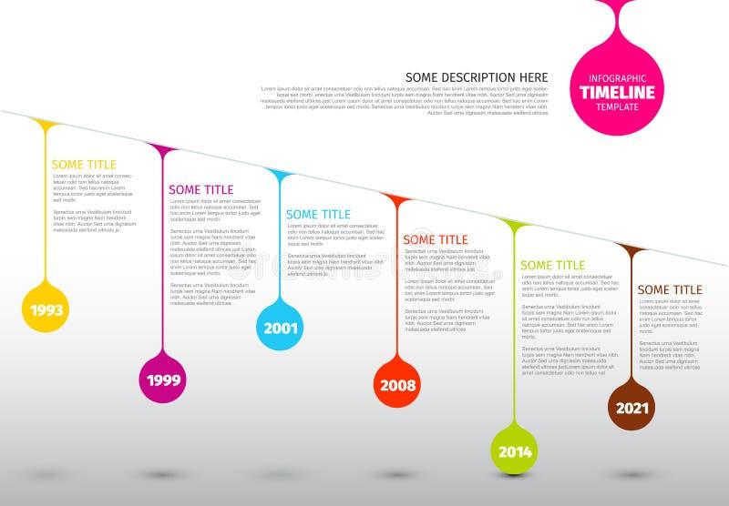 Calibre coloré de rapport de chronologie d'Infographic avec des baisses illustration de vecteur