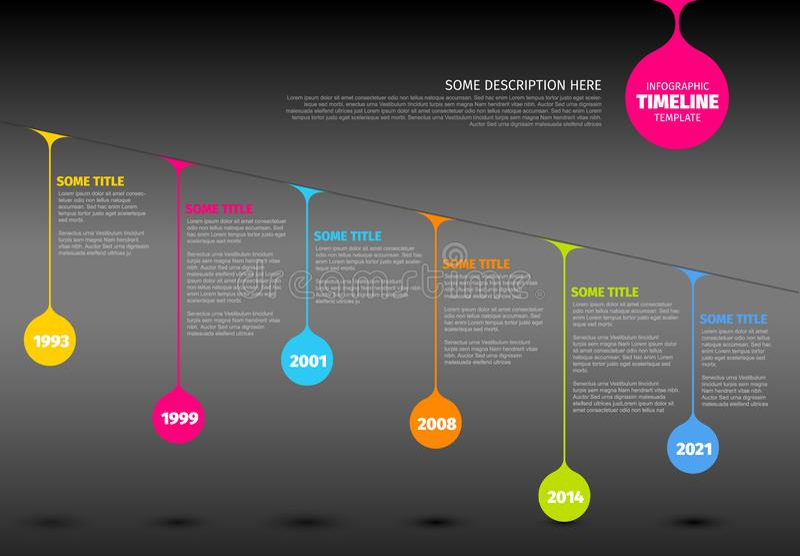 Calibre coloré de rapport de chronologie d'Infographic avec des baisses illustration libre de droits