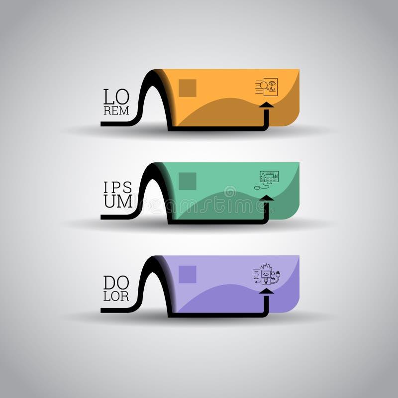 Calibre coloré moderne Inforgraphics/de conception numéroté bannières illustration de vecteur