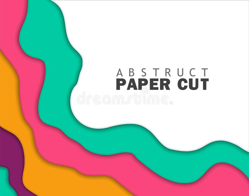 calibre color? abstrait d'insecte Bannière moderne avec des formes de vague abstraites de coupe du fond 3D et du papier Vecteur à illustration de vecteur