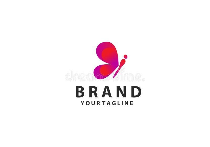 Calibre color? de logo de papillon avec l'ombre sur des ailes Forme abstraite de papillon dans des couleurs bleues et violettes B illustration libre de droits