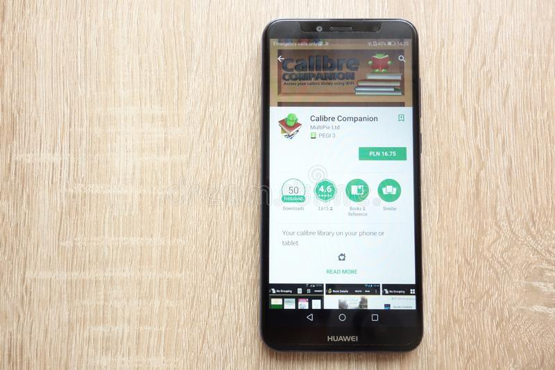 Calibre Companion app on Google Play Store website displayed on Huawei Y6 2018 smartphone royalty free stock photo