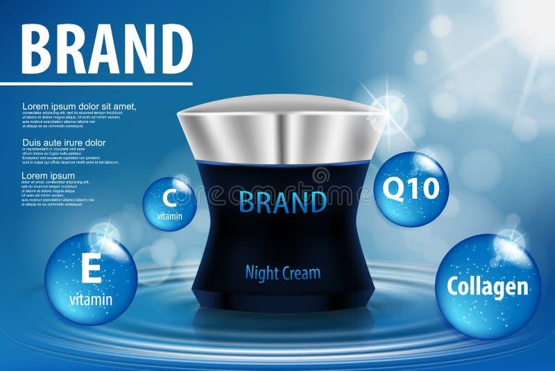 Calibre cosmétique d'annonces, crème intensive de réparation d'aqua de nuit illustration libre de droits