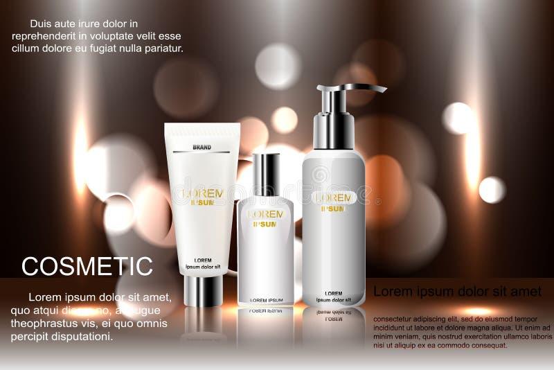 Calibre cosmétique exquis d'annonces, maquette vide avec le fond de scintillement de bokeh et effet d'éblouissement, bouteille de illustration stock