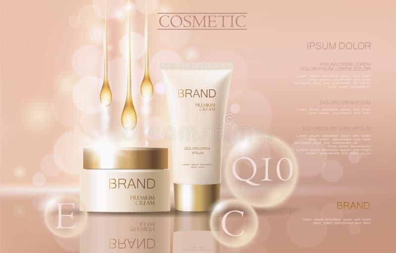 Calibre cosmétique sensible réaliste de bannière d'annonces 3d a détaillé l'élément promotionnel commercial de conception d'or be illustration libre de droits