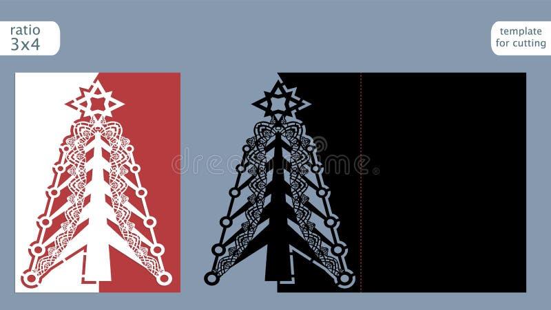 Calibre coupé par laser de carte de Noël Découpez la carte avec des matrices de papier avec le modèle de l'arbre de Noël Carte de illustration de vecteur