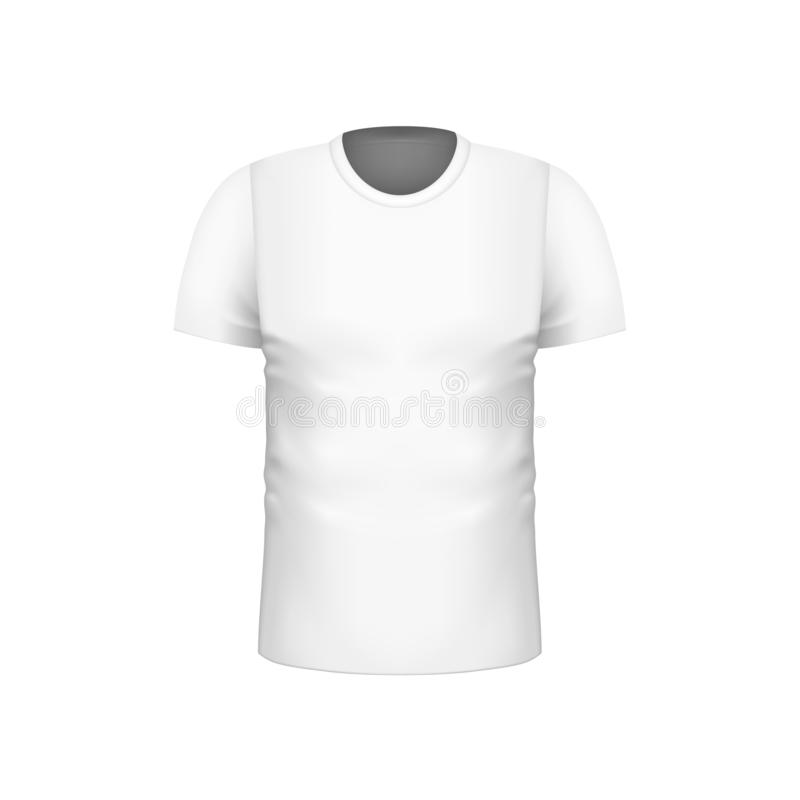 Calibre court vide réaliste de T-shirts de douille d'hommes blancs pour la conception de marque Illustration de vecteur illustration stock