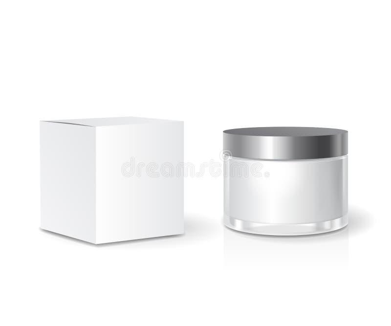 Calibre crème cosmétique de boîte de collection et de pot de soins de la peau, paquet blanc vide Moquerie réaliste  illustration libre de droits