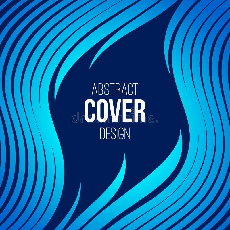 Calibre créatif abstrait de disposition de concept Rayures, vagues dans le bleu, couleurs de turquoise Fond de vecteur illustration stock