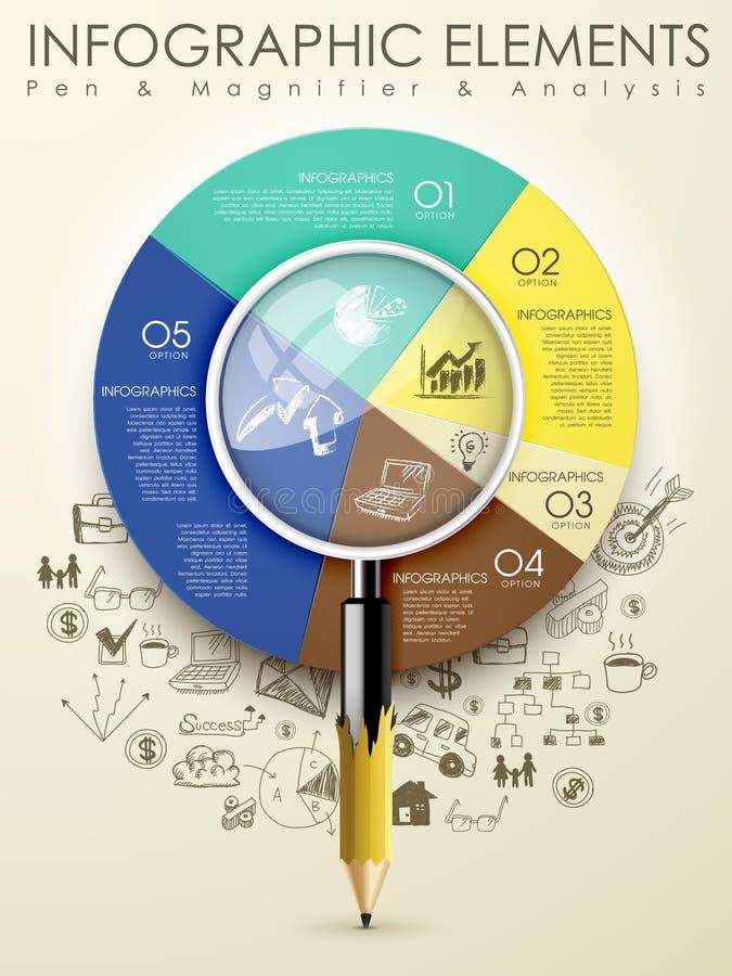 Calibre créatif avec l'infograph de loupe de cartel de crayon illustration stock