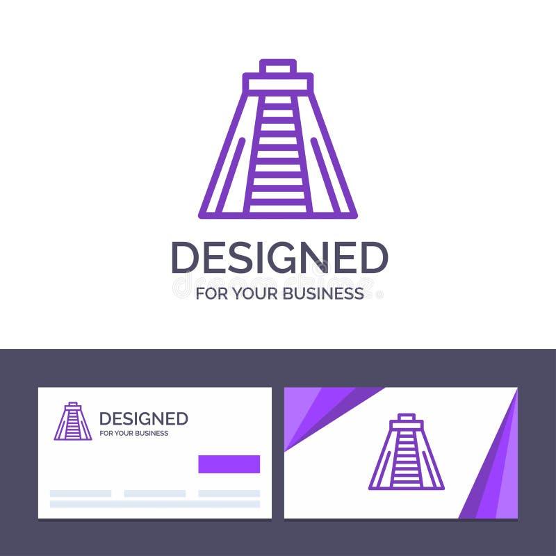Calibre créatif Chichen Itza, point de repère, illustration de carte de visite professionnelle et de logo de visite de vecteur de illustration stock