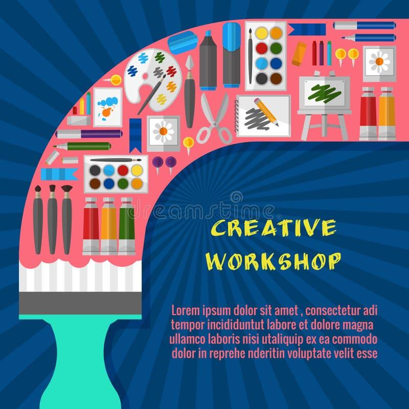 Calibre créatif d'affiche d'atelier illustration stock