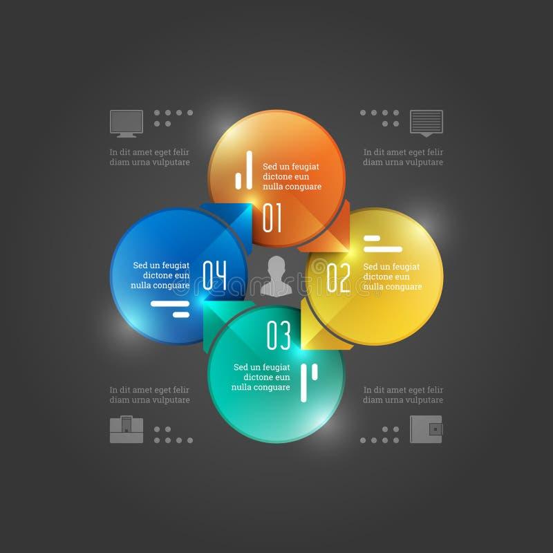 Calibre créatif d'Infographics de vecteur. Diagramme de cercles. Conception d'illustration de concept du vecteur EPS10 image stock