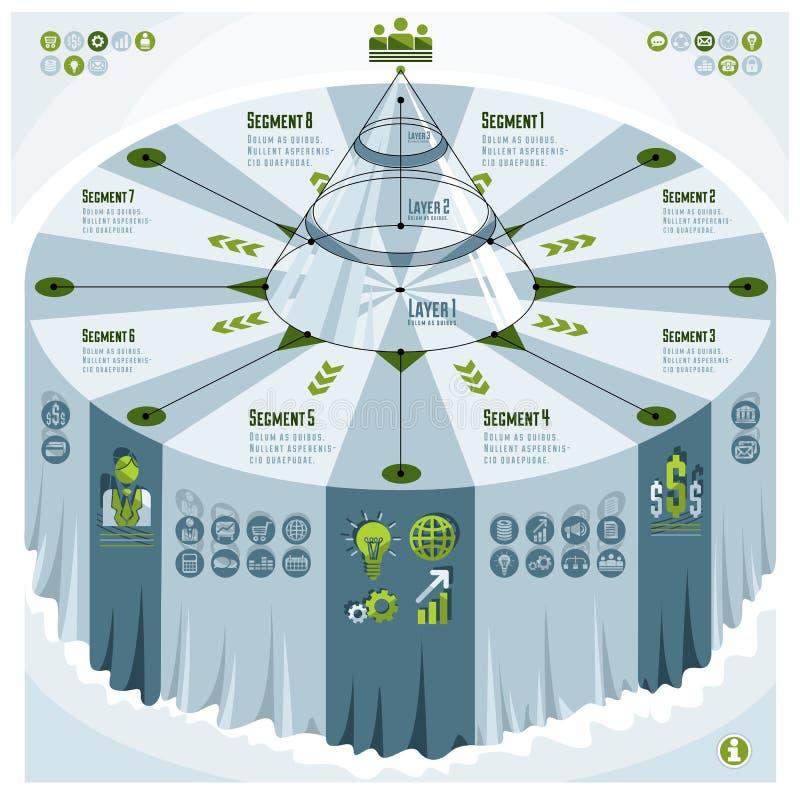 Calibre créatif d'infographics, table 3d avec l'identification posée de pyramide illustration libre de droits