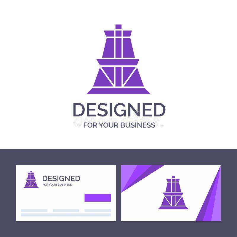 Calibre créatif de carte de visite professionnelle et de logo de visite électrique, énergie, transmission, illustration de vecteu illustration stock