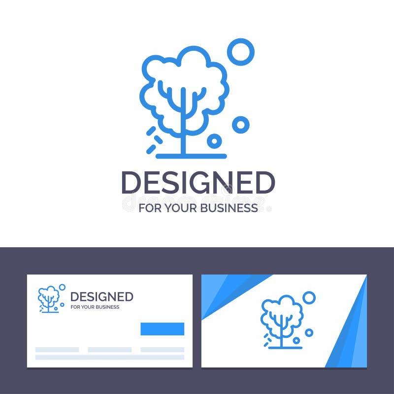 Calibre créatif de carte de visite professionnelle et de logo de visite sec, global, sol, arbre, illustration de chauffage de vec illustration libre de droits