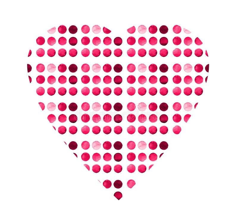 Calibre créatif de cartes de voeux d'aquarelle avec le coeur L'ensemble de a monté, carmin, cercle peint à la main rouge d'isolem illustration de vecteur