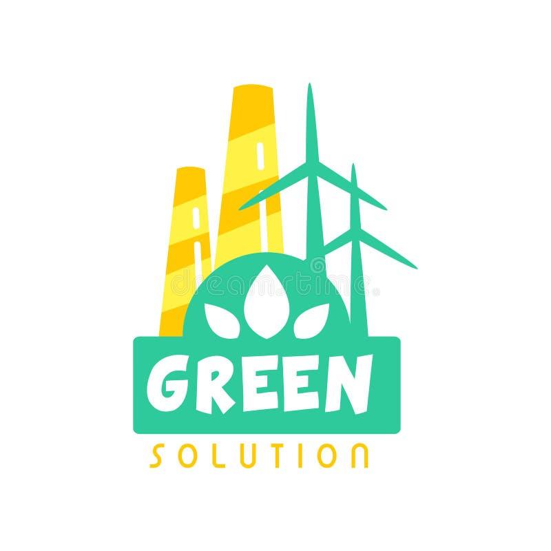 Calibre créatif de conception de logo d'énergie d'eco avec la cheminée et les moulins à vent d'usine Concept de label pour favora illustration libre de droits
